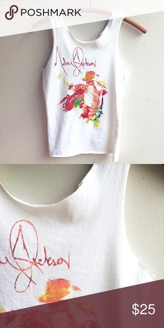 """MICHAEL JACKSON Tank Hand-cut at the hem and arms. Watercolor ink logo. Perfect condition. Sexy tight on a women's small.  Better for an XS or junior size person. 14.5"""" flat under the arms, 23"""" long. No label. Cotton. Long live the king of pop in your closet! Vintage Tops Tank Tops"""