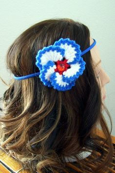 Red, White and Blue Flower Headband