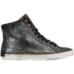 CRIME Studded Calfskin High Top Sneakers