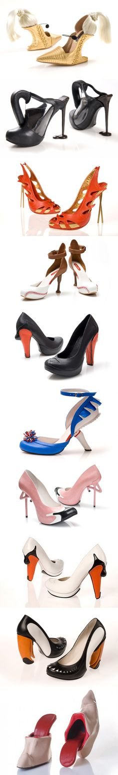 10 more amazing shoes and footwear designed by Kobi Levi. The shoes are named after the themes that inspired the artist in creating them: Blond ambition, Coffe Diner, Contemporary Chinese, Baseball, Black Swan, Cheerleader blue, Flamingo, Swan, Toucan, Tongue. Some of these are hideous lol! I'd wear the flamingo ones though