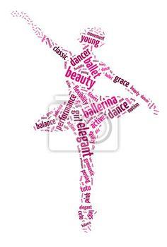 Sticker mots illustration d'un danseur de ballet dans un blanc - classique • PIXERS.fr