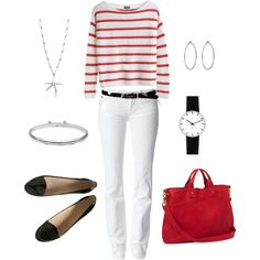 Nautical in Red, created by bluehydrangea on Polyvore