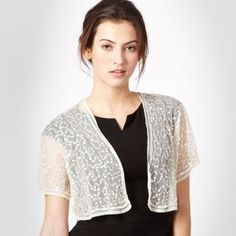 Sequin Bridal Bolero from Debenhams - Read more on One Fab Day: http://onefabday.com/where-to-buy-bride-and-bridesmaids-cover-ups/