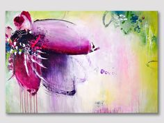 Original große XXL abstrakte Kunst, abstrakte Kunst, moderne Malerei, Rosa Lila Magenta, Gemälde, kräftige Farben, Acrylgemälde auf Leinwand