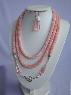 Купить Лариат Розовый + серьги - розовый, лариат, лариаты, лариаты из бисера, лариат длинный