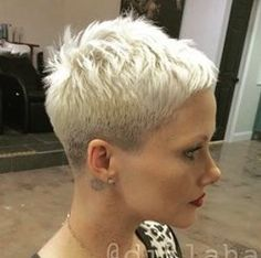 Very short pixie haircut.                                                                                                                                                                                 More