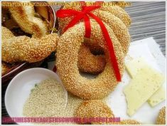ΚΟΥΛΟΥΡΙΑ ΘΕΣΣΑΛΟΝΙΚΗΣ ΜΑΣΤΙΧΩΤΑ!!! - Νόστιμες συνταγές της Γωγώς! Greek Sweets, Onion Rings, Appetizers, Bread, Food And Drink, Ethnic Recipes, Blog, Food Ideas, Traditional