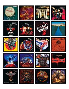 Made in the U.S.A. JUDAS PRIEST 20 ALBUM COVER REFRIGERATOR MAGNETS Each album cover magnet is about 1.75 inches X 1.75 inches • • • • • • • • • • • • • • • • • • • • • • • • • • • • • • • • • • • • • • • • • • • • • • • • • • • • THE MAGNETS INCLUDE the album art from: Rocka Rolla (1974) Sad Wings of Destiny (1976) Sin After Sin (1977) Stained Class (1978) Killing Machine (1978) Unleashed in the East (1979) British Steel (1980) Point of Entry (1981) Screaming for Vengeance (1982)…