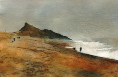 Gimblet Rock, Pwllheli, Open Edition Print (Giclee) from an original watercolour painting by Rob Piercy