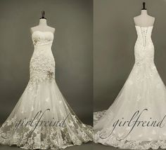 Elegant strapless pearl-white lace wedding dress #cute #wedding #dress