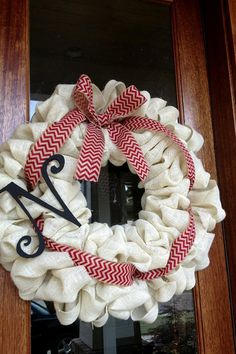 Custom White Burlap Monogram Wreath with red chevron burlap bow on Etsy ~ Perfect football wreath for Alabama fans ~ Roll Tide ~ Makes a great Christmas wreath!
