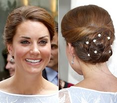 Kate - Pearl-Accented Updo - While touring Malaysia in 2012, Middleton attended a tea party, where she modeled this twisted updo, complete with pearls pinned into the loops.