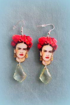 Handmade Frida Kahlo earrings  -  Illustration Jewelry by FridasCorner on Etsy