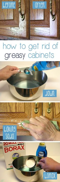 Clean cabinets ~ Start with 2 Tbsp Dawn + 2 cups warm water; can also add 1 cup white vinegar. If you need to be still more aggressive, add 1/2 cup of borax to the mixture. Scrub the cabinet with a clean cloth, following the grain of the wood. *Or* sprinkle baking soda onto a clean damp cloth & scrub the cabinet. Rinse the area clean with a sponge, & dry with a clean towel.