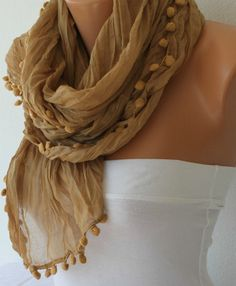 Women Shawl Scarf   Scarf  Cowl Scarf with Lace Edge   by fatwoman,