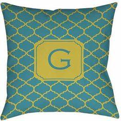 Thumbprintz Moroccan Monogram Teal Decorative Pillows, Blue