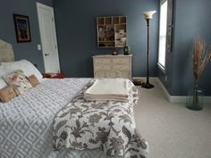 "Here's my guest room.  I love the wall color.  Sherwin Williams ""Storm Cloud"" & the bed spread is from Plow & Hearth."