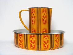 French Enamelware Pitcher & Basin Set in Fantastic Rich Colors