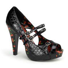 Sexy lak sandalen met plateau zool en 11 cm hoge hakken. De sandalen zijn van het merk Pinup couture en hier afgebeeld in het zwart.