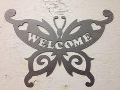 Butterfly Welcome2, metal signs, butterfly, yard art, garden