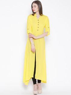 Yellow Ethnic Long Cotton Kurtis Kurtas Front Open Kurti For Girl #Cottonkurtis #Cottonkurta #cottonprintedkurtis now available at ladyindia.com