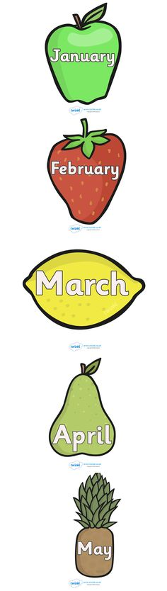 Twinkl Resources >> Months of The Year on Fruit  >> Classroom printables for Pre-School, Kindergarten, Elementary School and beyond! Calendars, Signs and Labels