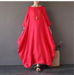 Bat Sleeve Causel Long Dress Plus Size Oversize Women Clothes