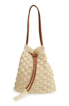 Crochet Straw Bucket Bag