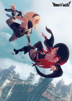 This is the image used on a wallscroll pre-order item for Gravity Rush 2 in Japan, which is no longer for sale. This image was sort of hidden on the official website, and probably uploaded by accident. I cleaned it up a bit before posting it here. It's only now that I realize these are actually the in-game models, I honestly thought the characters were hand-drawn when I saw the low-res version.