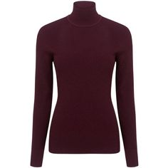 Pink Tartan - Rib cutaway turtleneck ($285) ❤ liked on Polyvore featuring tops, sweaters, rib sweater, purple sweater, purple turtleneck, turtleneck sweater and purple top