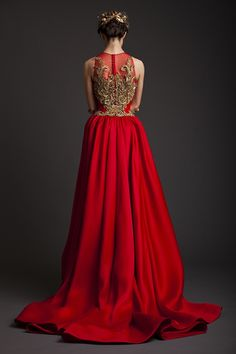 Red gown with gold embroidery | Krikor Jabotian