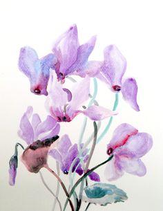Purple Cyclamens original watercolor painting. $28.00, via Etsy.