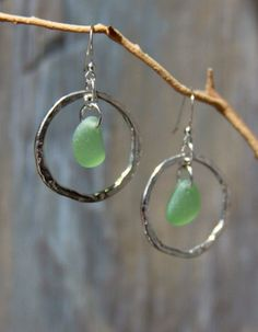Genuine Sea Glass Jewelry Sea Glass Earrings Hammered Ring Mint Colored Sea Glass.