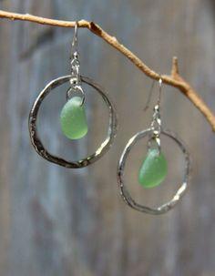 Genuine Sea Glass Jewelry Sea Glass Earrings Hammered Ring Mint Colored Sea Glass.