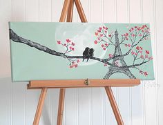 Original Canvas Painting Love Bird Painting Mint and Coral Wedding Gift for Couple Love Birds Art Paris Painting Eiffel Tower Art Painting by LindaFehlenGallery on Etsy Eiffel Tower Painting, Eiffel Tower Art, Paris Tower, Love Birds Painting, Paris Painting, Arte Country, Wedding Gifts For Couples, Paint And Sip, Paint Party