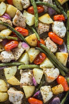 Roasted Chicken, beans, and potato sheet pan is easy to make and bakes in under 30 minutes. After I shared easy my15 minute healthy roasted chicken and vegetables, I've received so many requ…