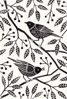 Linocut print by Laura MiddletonAvailable as a print...