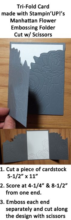 Unique Tri-Fold Card made with the shape from Stampin'UP!'s Manhattan Flower Embossing Folder