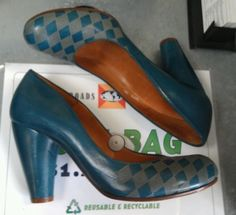 CHIE MIHARA ANTHROPOLOGIE 39.5 TEAL BLUE ARGYLE DIAMOND LEATHER PUMPS HEEL SHOES