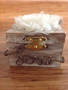 Rustic Distressed wood ring box ring bearer by WeddingDistinct, $16.00 like the idea of this but not this one