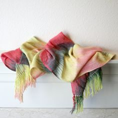 Hand woven scarf gradient color green red yellow and by katerynaG, $85.00