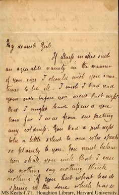 """Letter from John Keats to his love, Fanny. MS-Keats-1.71 """"My dearest girl...."""""""