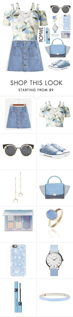 """""""First Date"""" by mish-01 ❤ liked on Polyvore featuring Miss Selfridge, Valentino, Shashi, CÉLINE, Anastasia Beverly Hills, Latelita, Casetify and Henri Bendel"""