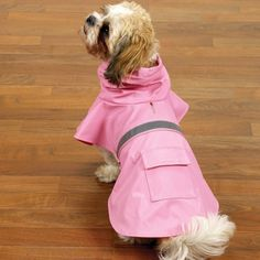 Guardian Gear Vinyl Dog Rain Jacket with Reflective Strip, Medium, Pink $11.98