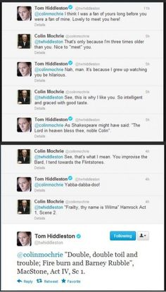 In case you want to know why Tom Hiddleston is the actual best, here is further evidence...
