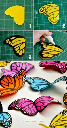 Inspiration de départ pour installation DIY-Home-Decor: DIY Paper Butterflies                                                                                                                                                      Plus