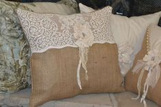 Burlap and vintage lace re~purposed Burlap Tablecloth, Burlap Pillows, Decorative Pillows, Throw Pillows, Burlap Lace, Burlap Flowers, Hessian, Antique Lace, Vintage Lace