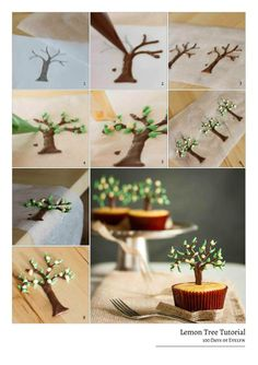 STEP BY STEP TREE http://100daysofevelyn.com/2013/09/22/lemon-tree-cupcakes/