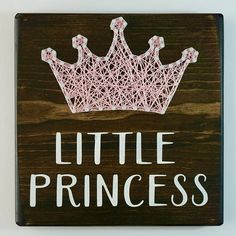 Little Princess String Art This 7.25x7.25 piece is stained with dark walnut and finished with light pink string and words painted in white. Other sizes and colors are available upon request. Each piece comes with a hanger securely attached to the back for easy hanging. Current turn
