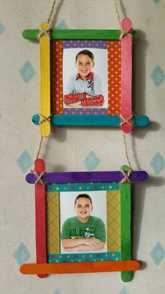 Colourful frames from ice cream popsicle sticks Easy Crafts For Kids, Summer Crafts, Projects For Kids, Diy For Kids, Diy Projects, Popsicle Stick Picture Frame, Popsicle Stick Diy, Craft Stick Crafts, Fun Crafts